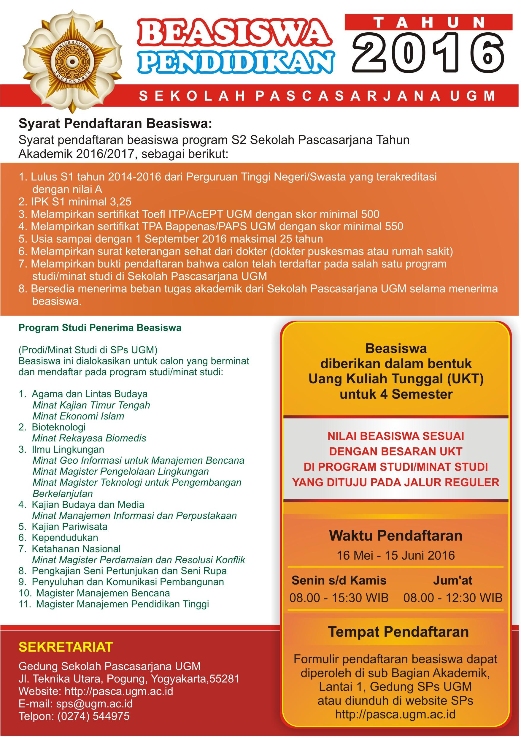 Beasiswa Pendidikan S2 Sekolah Pascasarjana UGM