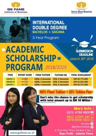 Poster Beasiswa GS Fame Institute of Business